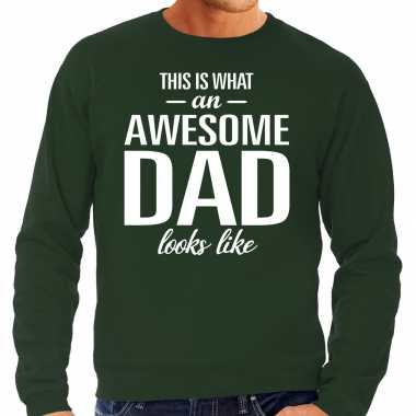 Awesome dad cadeau trui groen heren vaderdag cadeau