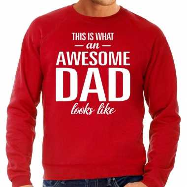 Awesome dad cadeau trui rood heren vaderdag cadeau