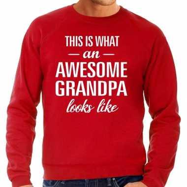 Awesome grandpa opa cadeau trui rood heren
