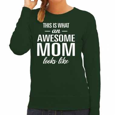 Awesome mom moeder cadeau trui groen dames