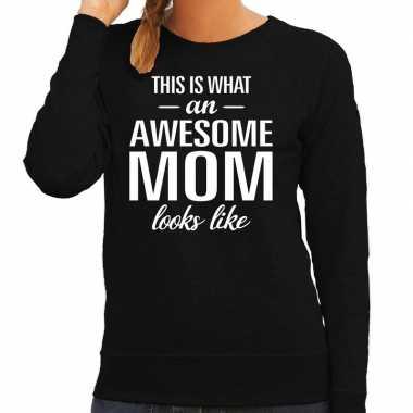 Awesome mom moeder cadeau trui zwart dames