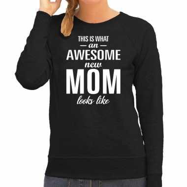 Awesome new mom trui / trui zwart dames cadeau aanstaande moeder/ zwanger