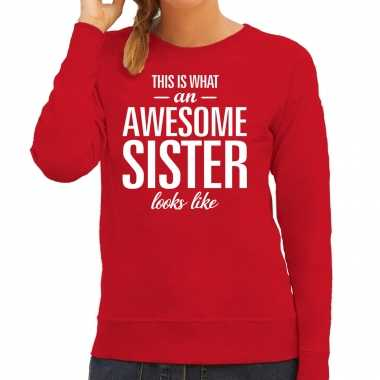 Awesome sister zus cadeau trui rood dames