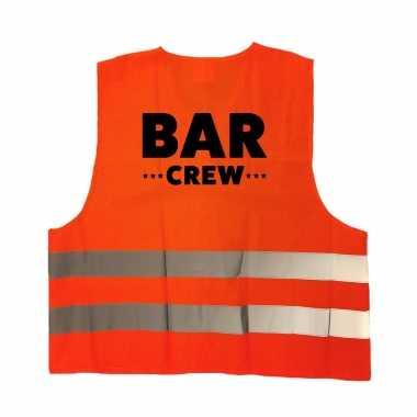 Bar crew / personeel truije / hesje oranje reflecterende strepen volwassenen