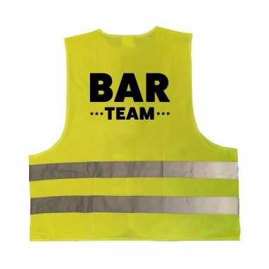 Bar team personeel truije / hesje geel reflecterende strepen volwassenen