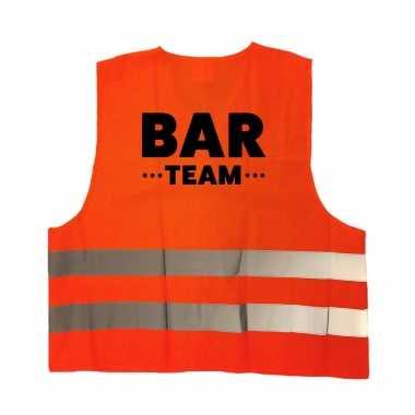 Bar team personeel truije / hesje oranje reflecterende strepen volwassenen