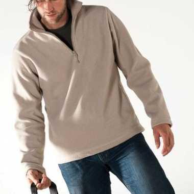 Beige micro polar fleece trui heren