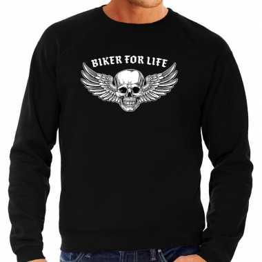 Biker for life fashion trui motorrijder zwart heren