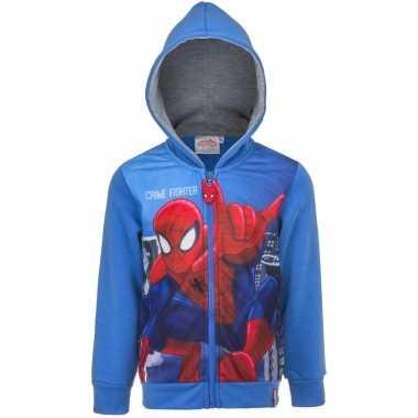 Blauw spiderman capuchon trui kinderen