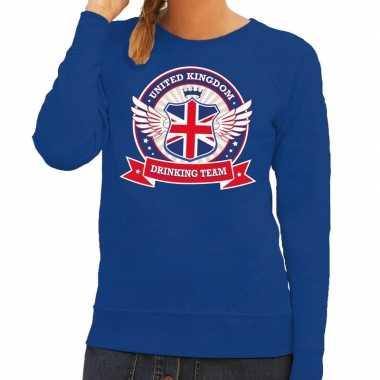 Blauw united kingdom drinking team trui dames