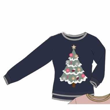 Blauwe dames kersttrui kerstboom