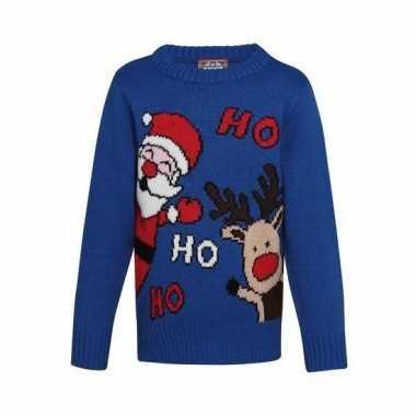 Blauwe kerst trui ho ho ho kinderen