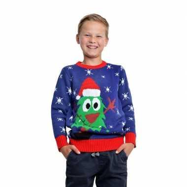 Blauwe kerst trui kerstboom kinderen