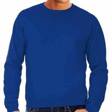Blauwe trui / sweatshirt trui grote maat ronde hals heren