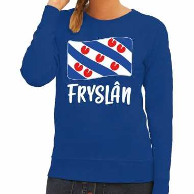 Blauwe trui / trui fryslan / friesland vlag dames