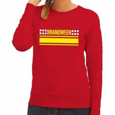 Brandweer logo trui rood dames