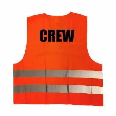 Crew / personeel truije / hesje oranje reflecterende strepen volwassenen