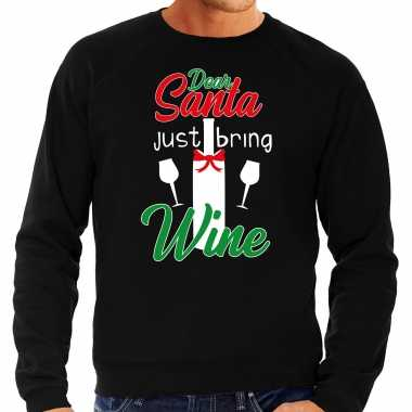 Dear santa just bring wine drank kersttrui / outfit zwart heren