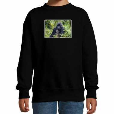 Dieren trui / trui gorilla apen foto zwart kinderen