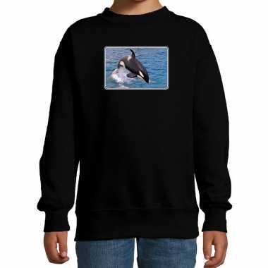 Dieren trui / trui orka walvissen foto zwart kinderen