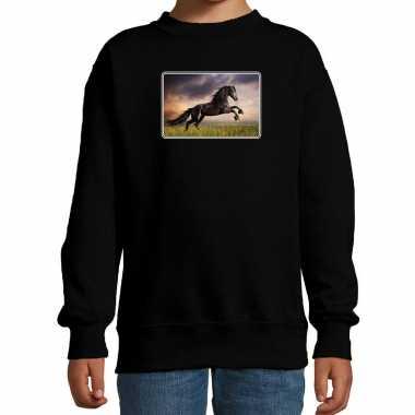 Dieren trui / trui paarden foto zwart kinderen