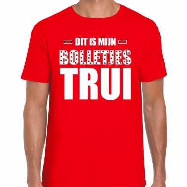 Dit is mijn bolletjes trui fun tekst t-shirt rood heren