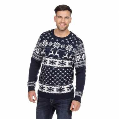 Donkerblauwe kerst trui rendieren heren