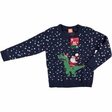 Donkerblauwe kersttrui kerstman dinosaurus kinderen
