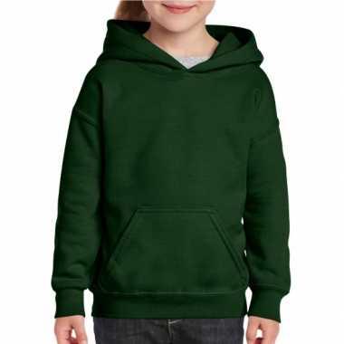 Donkergroene capuchon trui voor meisjes