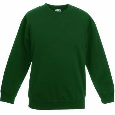 Donkergroene katoenmix trui voor jongens