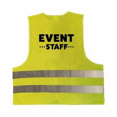 Event staff personeel truije / hesje geel reflecterende strepen volwassenen