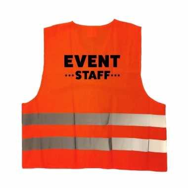 Event staff personeel truije / hesje oranje reflecterende strepen volwassenen