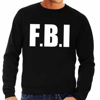 Fbi tekst trui / trui zwart heren