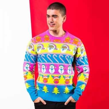 Fel gekleurde kerst trui heren