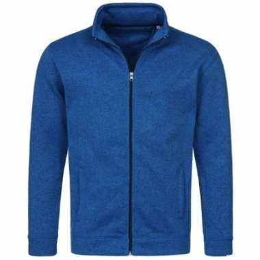 Fleece outdoor trui premium blauw heren
