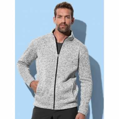 Fleece outdoor trui premium licht grijs heren