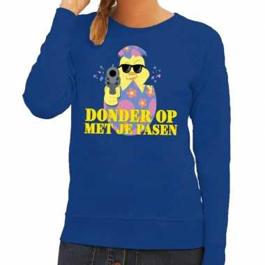 Fout paas trui blauw donder je pasen dames