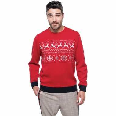 Foute gebreide kersttrui rood noorse heren
