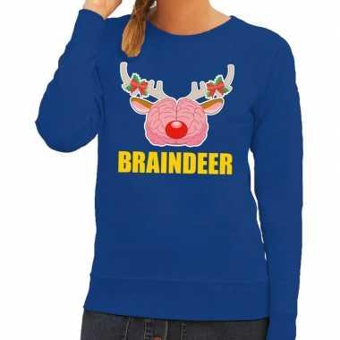 Foute kersttrui braindeer blauw dames
