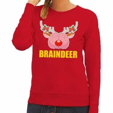 Foute kersttrui braindeer rood dames