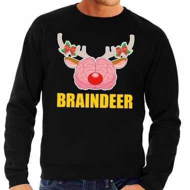 Foute kersttrui braindeer zwart heren