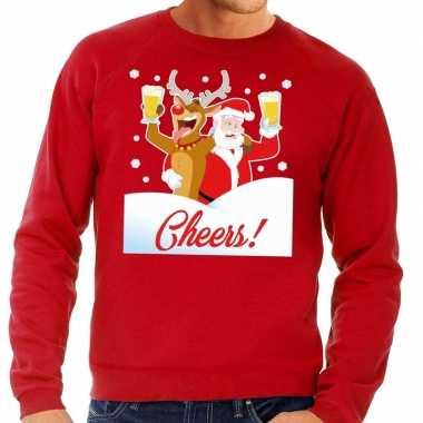 Foute kersttrui cheers dronken kerstman rood heren