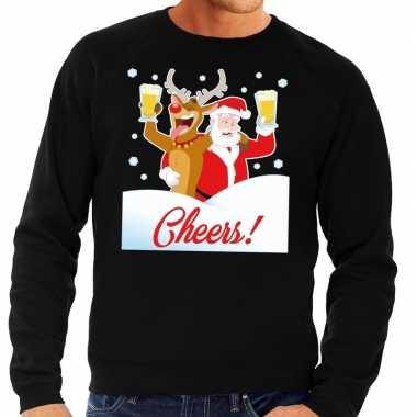 Foute kersttrui cheers dronken kerstman zwart heren