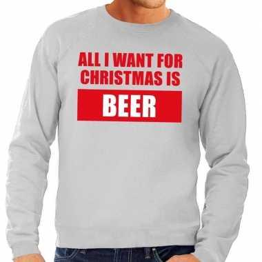 Foute kersttrui christmas beer grijs heren