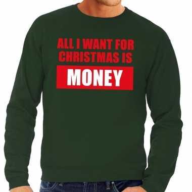 Foute kersttrui christmas money groen heren