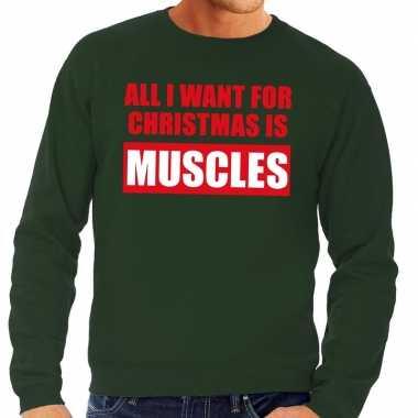 Foute kersttrui christmas muscles groen heren