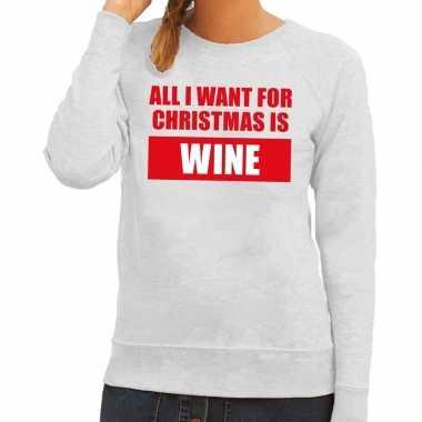 Foute kersttrui christmas wine grijs dames