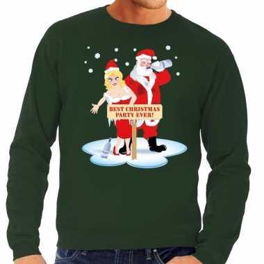 Foute kersttrui dronken kerstman kerstvrouw groen heren