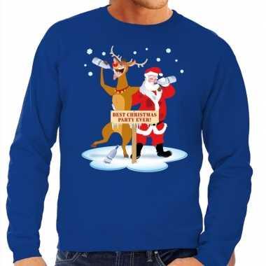 Foute kersttrui dronken kerstman rendier rudolf blauw heren