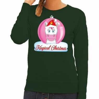 Foute kersttrui eenhoorn magical christmas groene dames trui